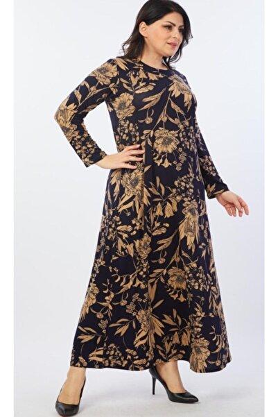 Şirin Butik Kadın Lacivert Çiçek Desenli Esnek Viskon Elbise