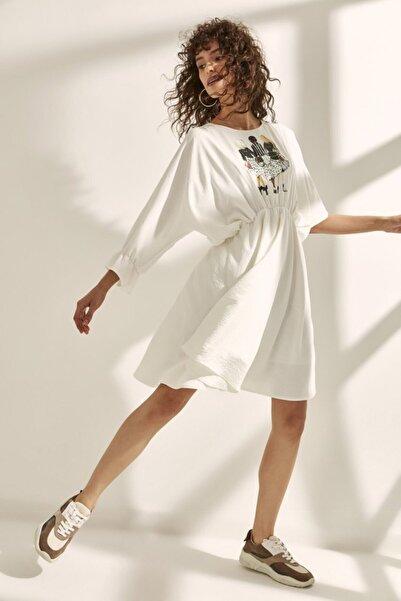 Say Kadın Taba Yarasa Kol Önü  Aplikeli Elbise