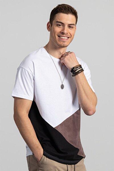 Tudors Erkek Beyaz Oversize Parçalı Bol Kesim T-shirt