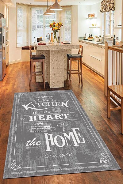 NeluxHome Kaymaz Tabanlı Makinede Yıkanabilir Dekoratif Retro Kitchen Mutfak Halısı Ar345