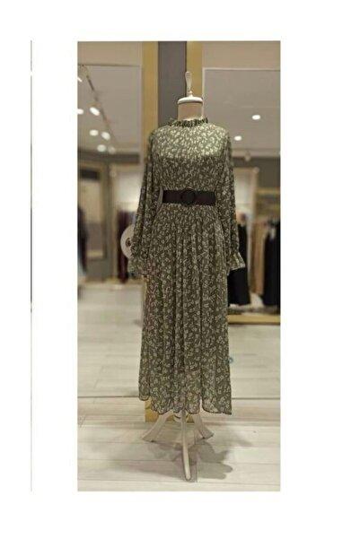 lamelif store Haki Çiçekli Plise Elbise