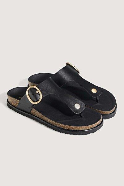 Oysho Siyah Tokalı Parmak Arası Sandalet