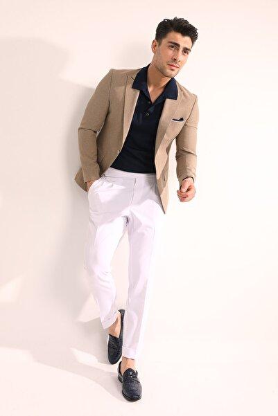 Fc Plus Erkek Bej Tek Düğme Düz Ceket