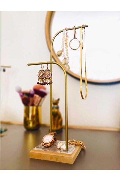Drm Wood Gold Altın Takı Standı Takılık Küpelik Bileklik Kolye Seti Takı Dolabı Düzenleyici