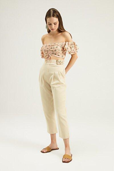 Quzu Kadın Taş Yanı Tokalı Pileli Pantolon