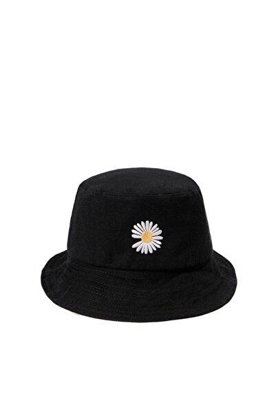 Güce Beyaz Papatya Işlemeli Siyah Bucket Balıkçı Şapkası Gc0139papatya
