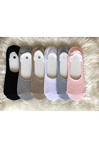 B&D SOCKS B&d Kadın 6'lı Silikon Baskılı Görünmez Babet Çorap
