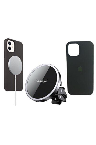 Joyroom Iphone 12 Mini Uyumlu Magsafe 3'lü Set/magsafe Şarj Aleti/araç Tutucu/iphone12 Silikon Magsafe Kılıf