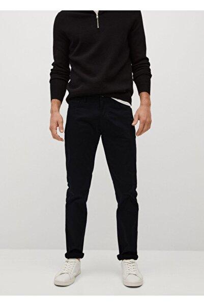 MANGO Man Erkek Siyah Dar Kesim Denim Görünümlü Serj Pantolon