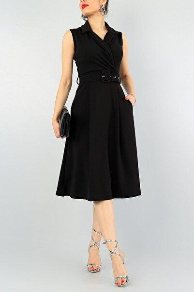 bayansepeti Kadın Siyah Esnek Kumaş Kruvaze Yaka Kemer Detaylı Pileli Dizaltı Elbise