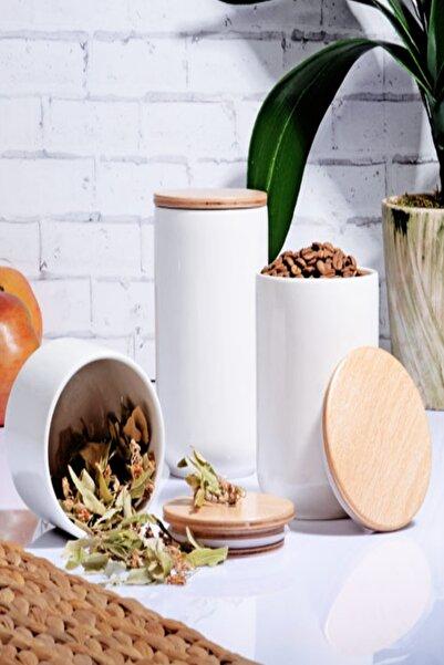 Else Halı Else Bambu Kapaklı 3 Lü Beyaz Porselen Kavanoz Baharat Saklama Kabı