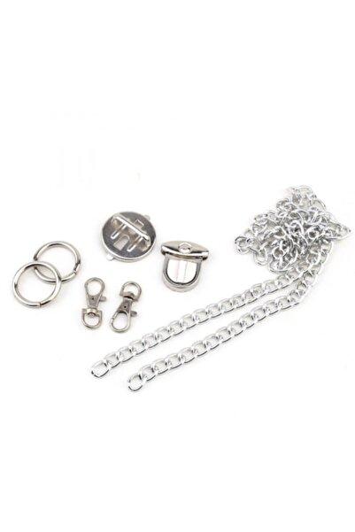 Aklar Çanta Çanta Aparat Seti (gümüş) - 1 Adet Kilit - 1 Metre Zincir - 2 Adet Yaylı Halka - 2 Adet Kanca