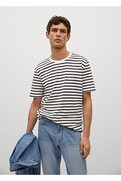 MANGO Man Erkek Kırık Beyaz Sürdürülebilir Pamuklu Çizgili T-shirt