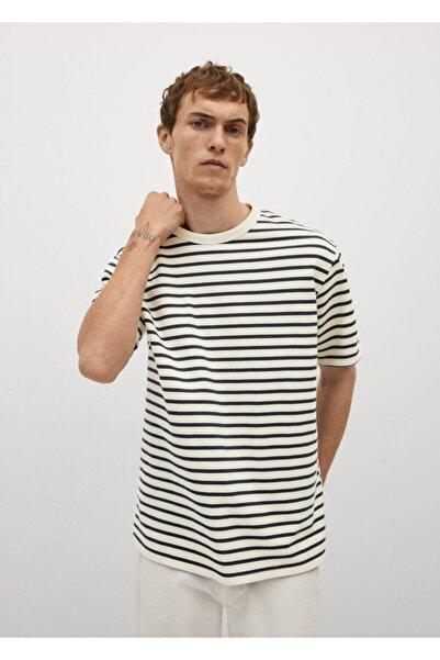 MANGO Man Erkek Kırık Beyaz Çizgili Pamuk Dokuma Tişört