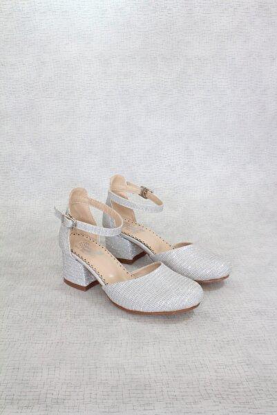 Miss Junior Topuklu Abiye Gümüş Gri Kız Çocuk Ayakkabı