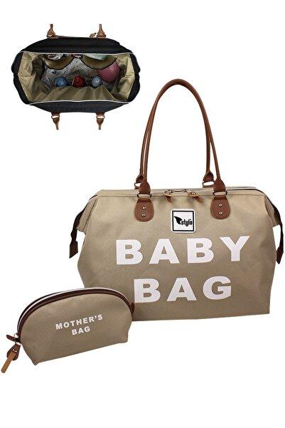 Stylo Large Boy Baby Bag Kadın ve Bebek Bakım Çantası-Bej
