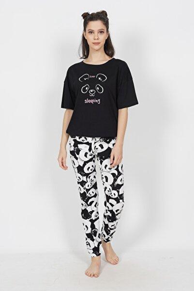 Kompedan Kadın Üst Ve Alt Panda Desenli Kısa Kol Takım
