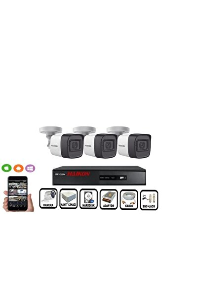 Haikon 3 Kameralı Güvenlik Paket Set Hdd Dahil Gece Görüşlü Eksiksiz Paket 3