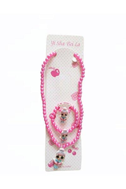 Fashion accessories Kız Çocuk Pembe Galata Hobi Lol Bebek Kolye Bileklik Yüzük Set