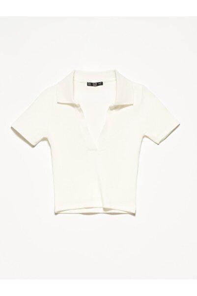 Dilvin Kadın Ekru Polo Yaka T-shirt