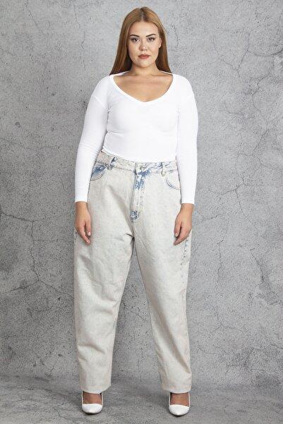 Şans Kadın Taş Kar Yıkama Efektli Geniş Basen Kot Pantolon 65N25667