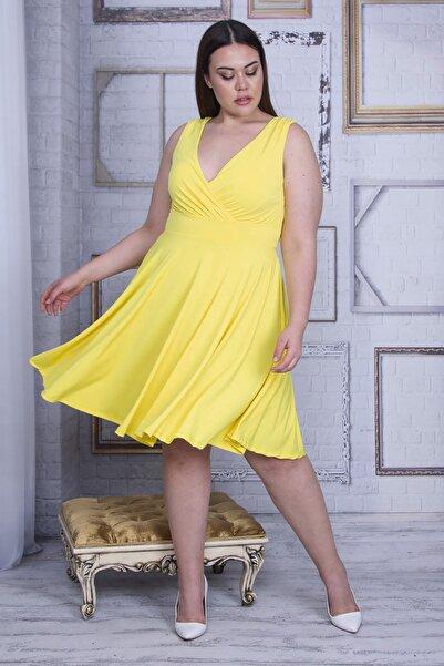 Şans Kadın Sarı Anvelop Yakalı Arka Bel Lastik Detaylı Elbise 65N25750