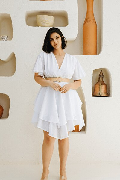 Sofi & Sofi Kadın Beyaz Nopeli Volan Etekli Viskoz Büyük Beden Elbise
