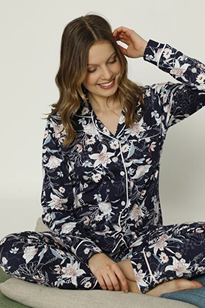 MİSS PERRY Kadın  Çiçek Desenli Uzun Kollu Penye Pijama Takımı