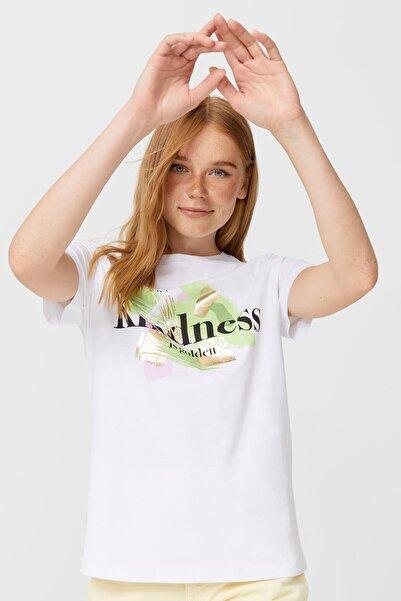 Stradivarius Kadın Beyaz Parlak Yazılı T-shirt