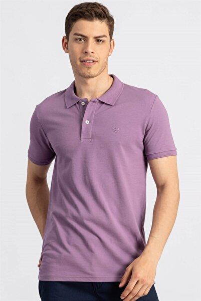 Tudors Erkek Slim Fit Polo Yaka Lavanta  T-shirt