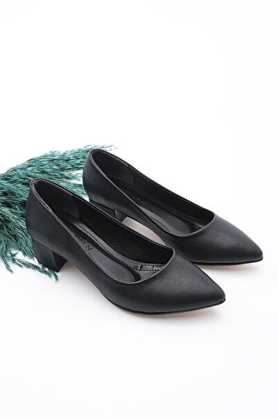 Marjin Kadın Günlük Klasik Topuklu Ayakkabı Apuntesiyah