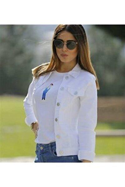 Kadın Beyaz Kot Ceket 54487998