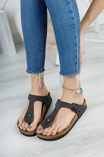 meyra'nın ayakkabıları Kadın Siyah Mat Cilt Klasik Parmak Arası Terlik