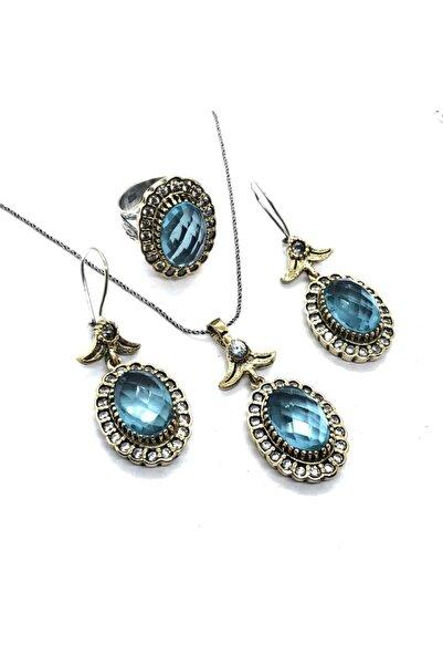 Athena Silverr Akuamarin Taşlı Otantik Gümüş Kadın Üçlü Set