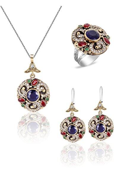 Athena Silverr Safir Ve Yakut Taşlı Otantik Gümüş Bayan Üçlü Set