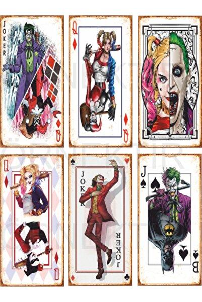 Hayat Poster Joker Ve Harley Quinn 6lı Mini Retro Ahşap Poster Seti