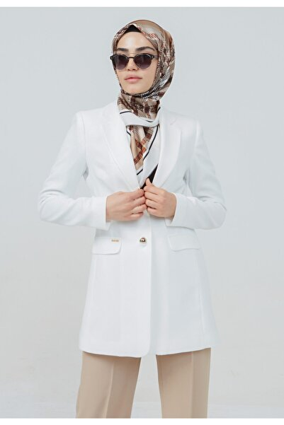 Setrms Kadın Ekru Düğme Detaylı Blazer Ceket
