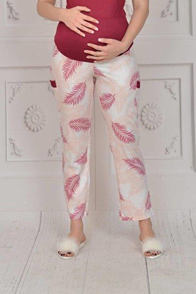 Espuar Kadın Bordo Viskon Rahat Kumaş Tek Parça Hamile Pantolonu 11009