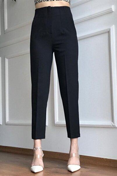 İroni Kadın Siyah Pileli Pantolon
