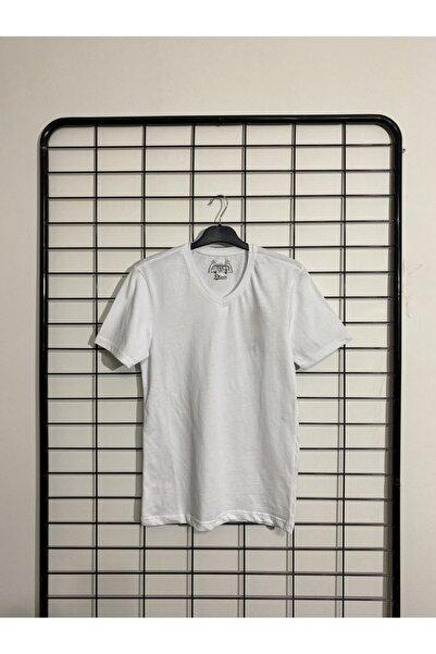 Phazz Brand Beyaz Kısa Kollu V Yaka T-shirt