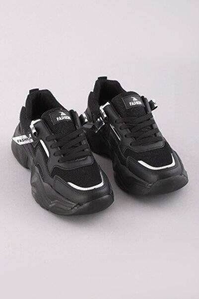 Arlin Kadın Yüksek Taban File Detaylı Konforlu Bağcıklı Siyah-siyah Spor Ayakkabı