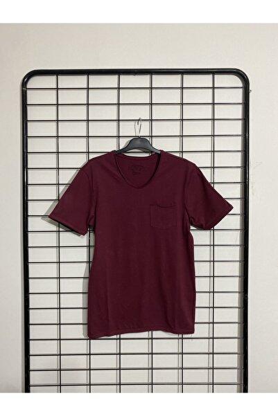 Phazz Brand Erkek Bordo Cepli V Yaka T-shirt
