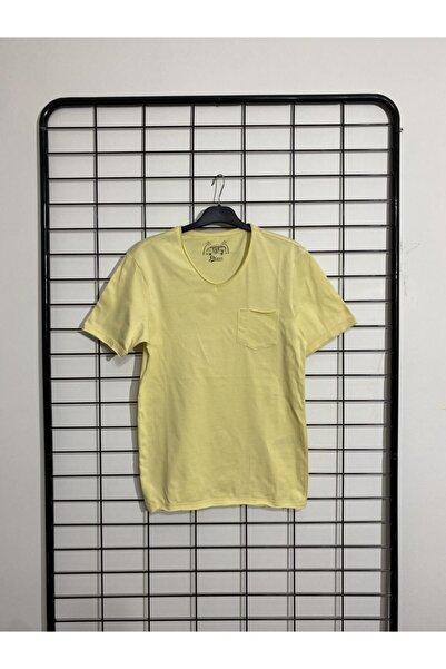 Phazz Brand Erkek Sarı Cepli V Yaka T-shirt