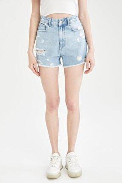 Kadın Mavi Yüksek Bel Yırtık Detaylı Jean Mini Şort U6497AZ21SMNM