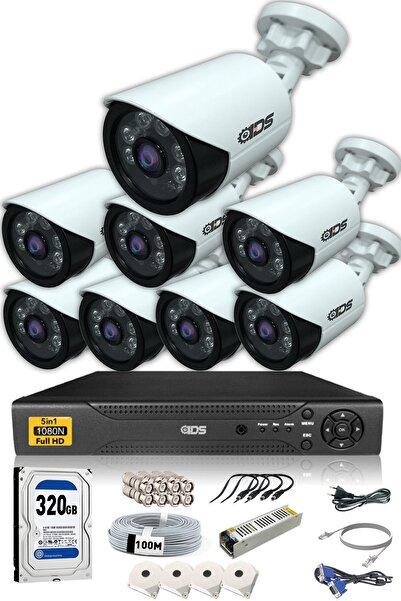 IDS 8 Kameralı 5mp Lensli 1080p Fullhd Kamera Seti  Gece Görüşlü  Su Geçirmez  Cepten Izle