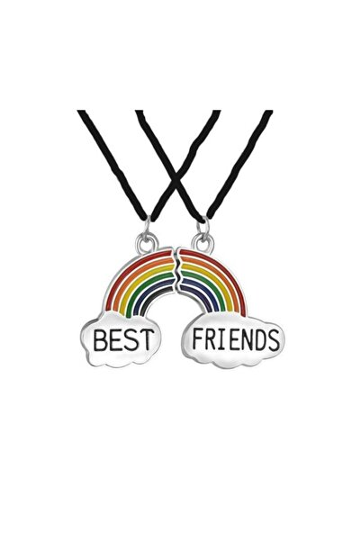 AlpCollection Renkli Gökkuşağı Metal Best Friends Bff 2li Çift Deri Ipli Kolye