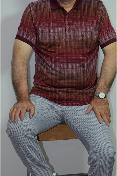Sarar Premium Polo Yaka Bordo Desenli Regular Fit Tişört