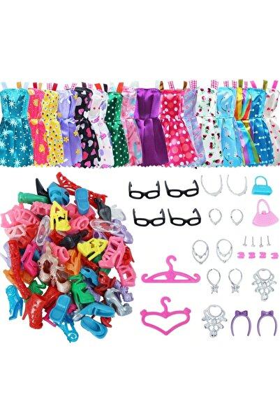 ESRA ŞELEM Barbie Bebekler Için 42 Parça Aksesuar Kıyafet Ayakkabı Çanta Askı Gözlük Seti