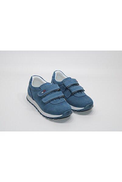 Minican Hakiki Deri Çift Cırtlı Tam Ortopedik Kot Mavi Erkek Çocuğu Günlük Rahat Ayakkabı