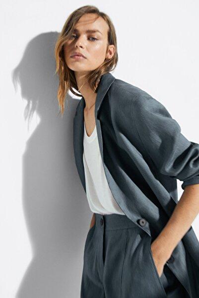 Massimo Dutti Kadın Çelik Oversize Keten Blazer 06005519